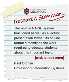 Research Summary and Findings by Paul Cronan, Professor of Information Systems, University of Arkansas